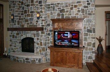 Rustic Living Room with a Hidden TV