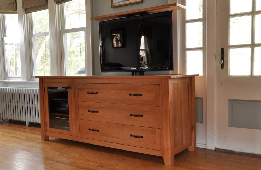 Solid Cherry Custom TV Lift Cabinet 6