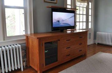 Solid Cherry Custom TV Lift Cabinet