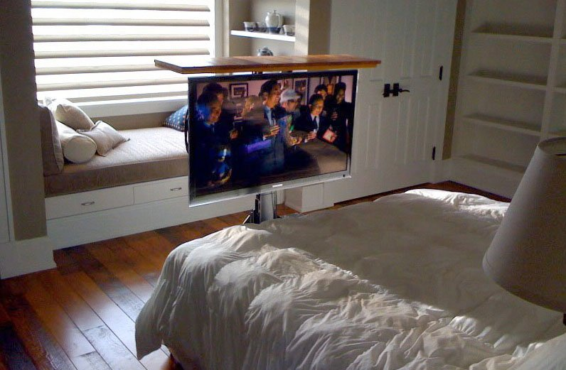 tv lift from floor tv hidden under floor in bedroom. Black Bedroom Furniture Sets. Home Design Ideas