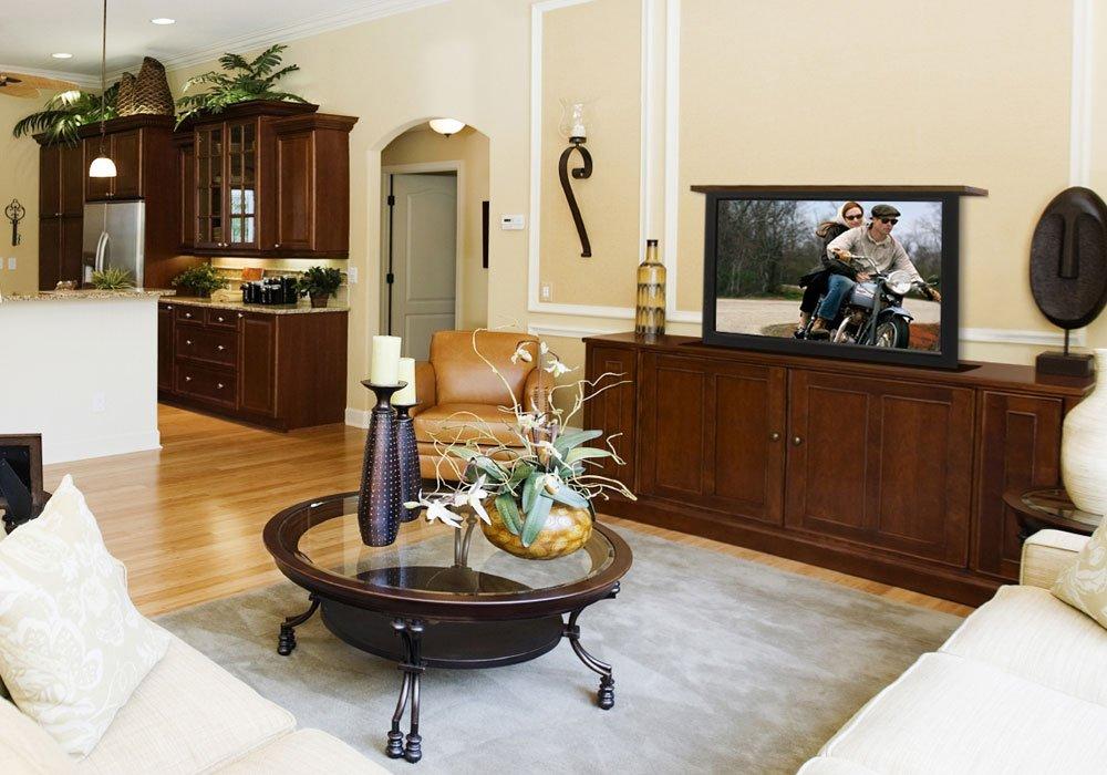 TV Hidden in Living Room Cabinet