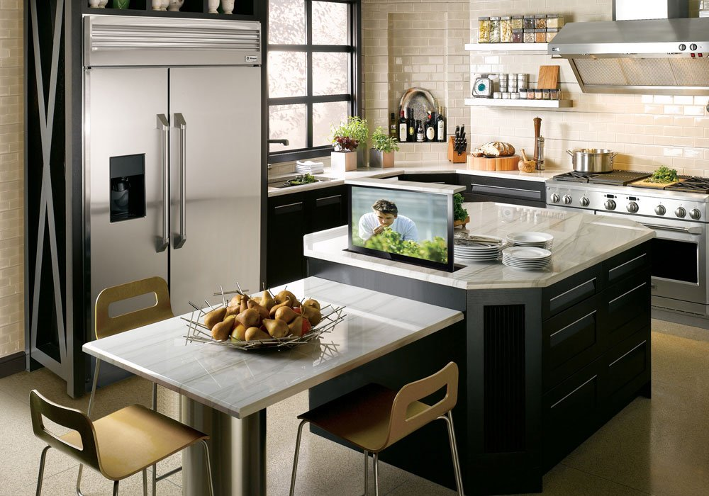 Charming Small TV Hidden In Kitchen Island