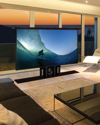 out of floor television end of pool tv living room tv