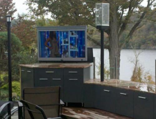 Outdoor Entertainment Space With Hidden TV