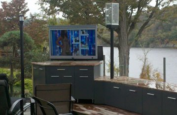 Amazing Outdoor Entertainment Area with Hidden TV