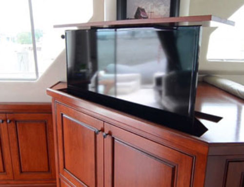 Hidden TV Lift Complements Gorgeous Boat Interior