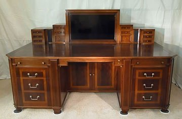 Hidden Storage and Computer Monitor in Executive Desk