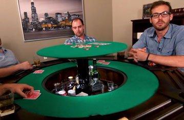Lazy Susan Bar Hidden Inside Poker Table