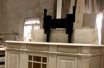 Sneak Peak at Unfinished Pop Up TV Lift Cabinet