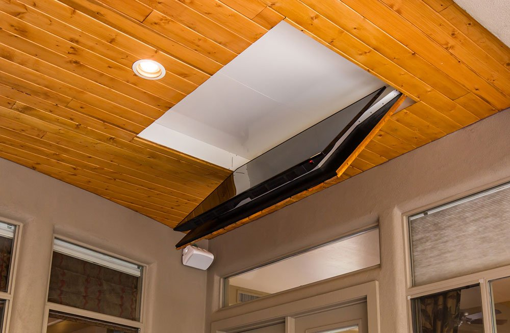 folding ceiling tv mount cool patio flip down tv outside. Black Bedroom Furniture Sets. Home Design Ideas