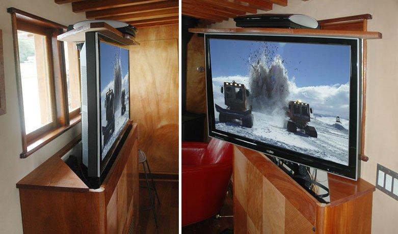 Hidden TV Built into the Decor of Restored Luxury Craft