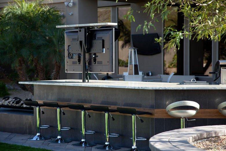 TV Lift in Backyard Grill