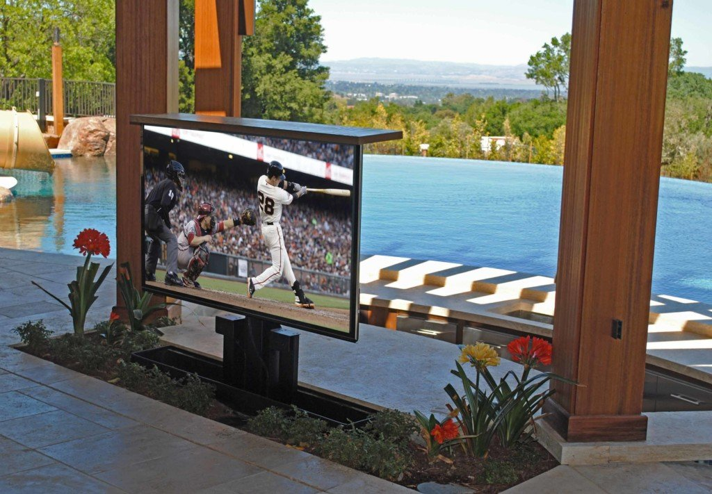 TV on Patio near Pool