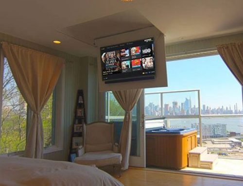 Flip-Down TV Lift Eliminates Interference with the Skyline Views
