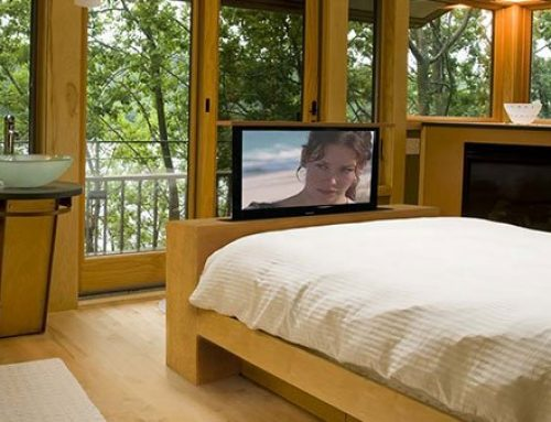 View The TV From The Bed or The Bath, with 360-Degree Swivel